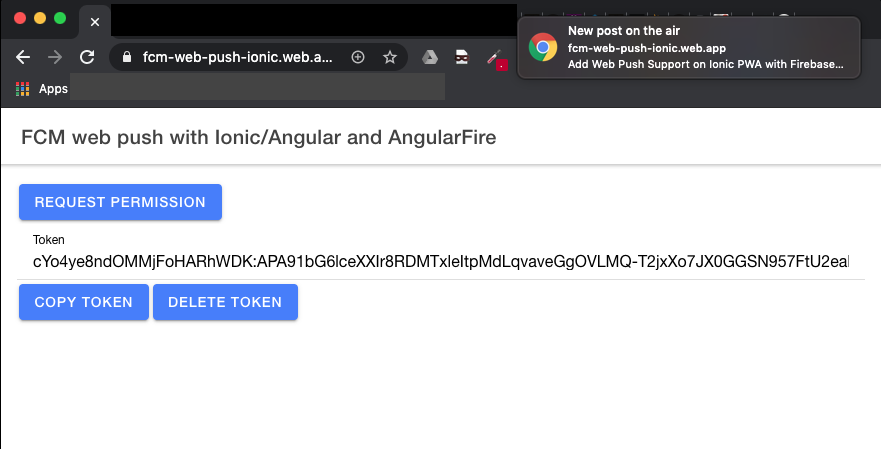 Firebase Web Push with Ionic
